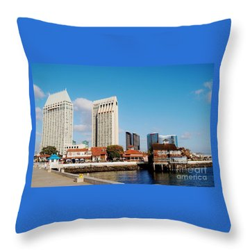 Throw Pillow featuring the photograph San Diego - Seaport Village by Jasna Gopic