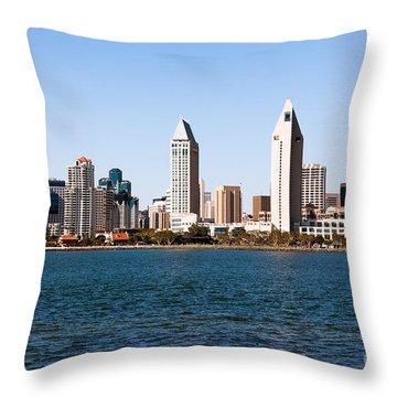 San Diego City Skyline Throw Pillow by Paul Velgos