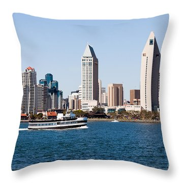San Diego Skyline And Tour Boat Throw Pillow by Paul Velgos