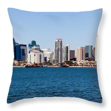 San Diego Skyline Buildings Throw Pillow by Paul Velgos