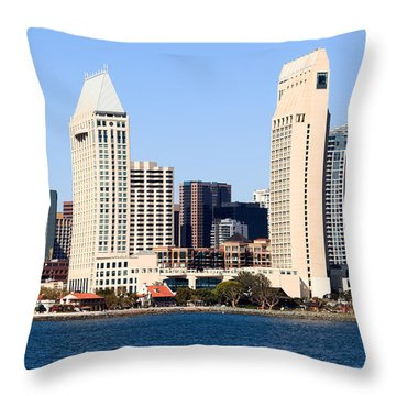 San Diego Skyscrapers Throw Pillow by Paul Velgos