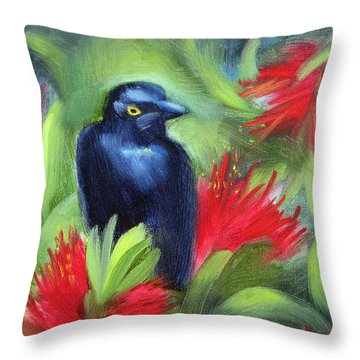 San Francisco Black Bird Throw Pillow by Karin  Leonard
