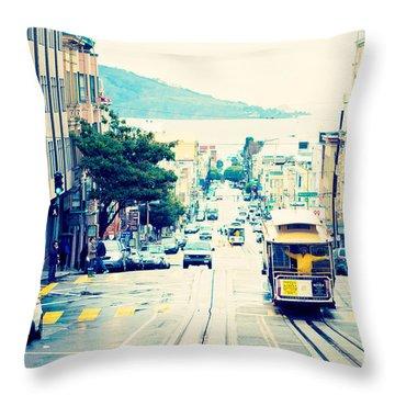San Francisco Powell Street Cable Car Throw Pillow by Kim Fearheiley