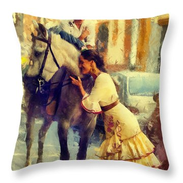San Miguel Fair In Torremolinos Throw Pillow by Jenny Rainbow