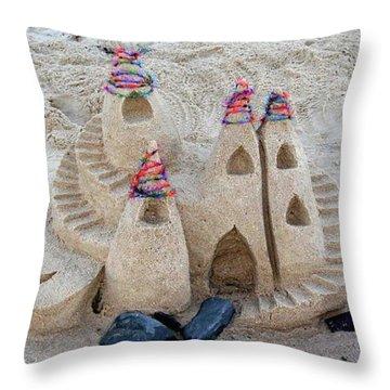 Sand Castle Throw Pillow by Karen Elzinga