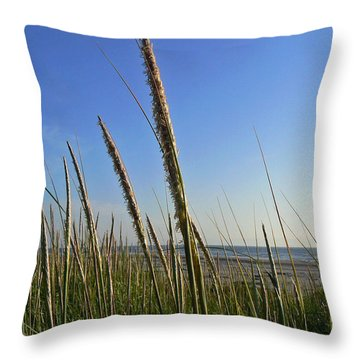 Sand Dune Grasses Throw Pillow by Pamela Patch