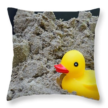 Sand Pile And Ducky Throw Pillow
