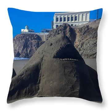 Sand Shark At Cliff House Throw Pillow by Garry Gay