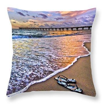 Sandals Throw Pillow by Debra and Dave Vanderlaan