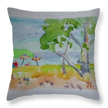 Throw Pillow featuring the painting Sandpoint Bathers by Francine Frank