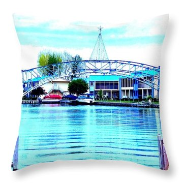 Throw Pillow featuring the photograph Sandy Beach Bridge by Lisa Brandel