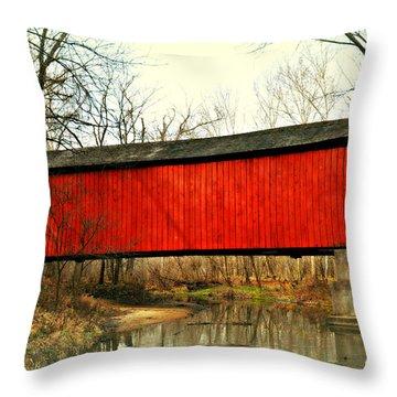 Sandy Creek Bridge In Winter Throw Pillow by Marty Koch