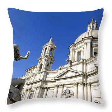 Sant' Agnese In Agone. Piazza Navona. Rome Throw Pillow by Bernard Jaubert