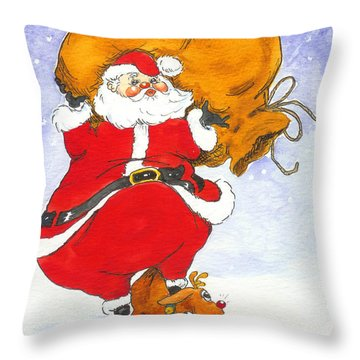 Santa And Rudolph Throw Pillow by Peggy Wilson