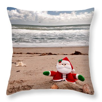 Santa At The Beach Throw Pillow