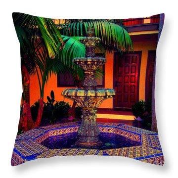 Santa Barbara Fountain Throw Pillow by Ann Johndro-Collins