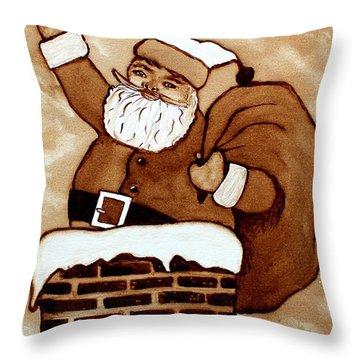 Santa Claus Gifts Original Coffee Painting Throw Pillow by Georgeta  Blanaru