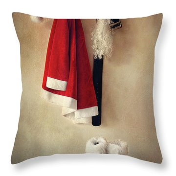 Santa Costume With Boots On Coathook Throw Pillow by Sandra Cunningham