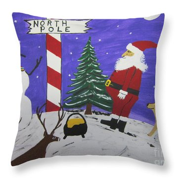 Santa Finds Pot Of Gold Throw Pillow by Jeffrey Koss