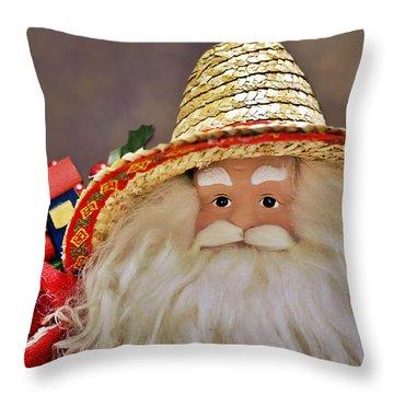 Santa Is A Gardener Throw Pillow by Christine Till