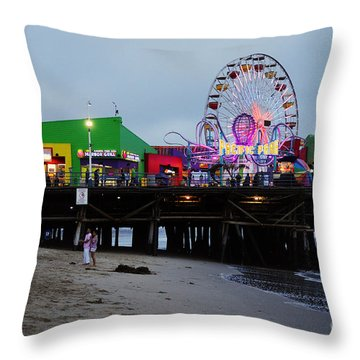 Santa Monica Pier May 12 2012 Throw Pillow by Clayton Bruster