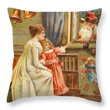 Santa's Gifts Throw Pillow by English School