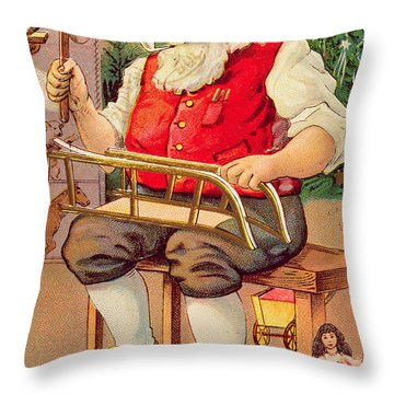 Santa's Workshop Throw Pillow by English School