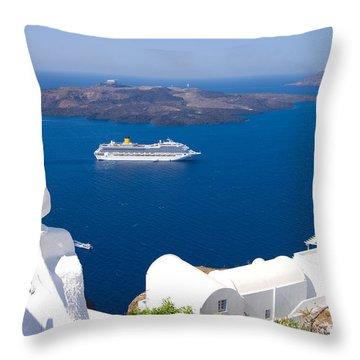 Santorini Cruising Throw Pillow