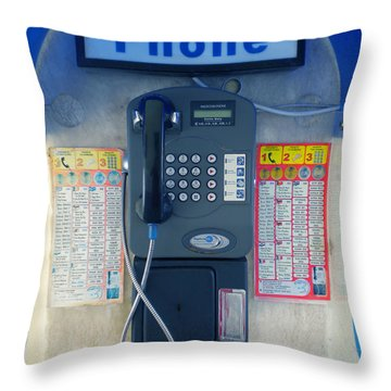 Throw Pillow featuring the photograph Santorini Island Greece Telephone Box by Colette V Hera  Guggenheim