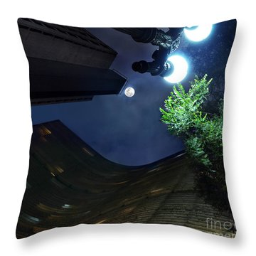 Copan Building And The Moonlight Throw Pillow