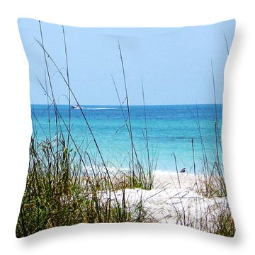 Sarasota Bay At Longboat Beach Throw Pillow by Ginny Schmidt