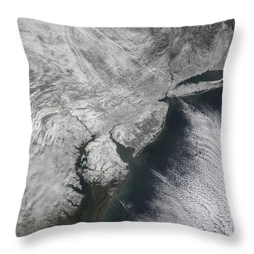 Satellite View Of A Noreaster Snow Throw Pillow by Stocktrek Images