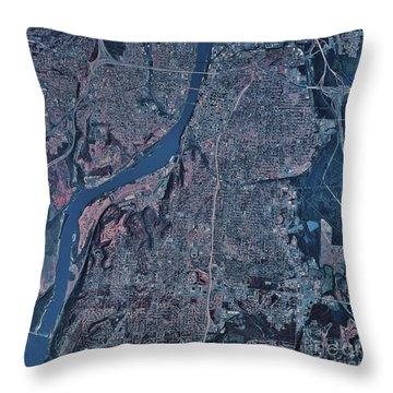 Satellite View Of Little Rock, Arkansas Throw Pillow by Stocktrek Images