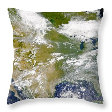 Satellite View Of North America Throw Pillow by Stocktrek Images