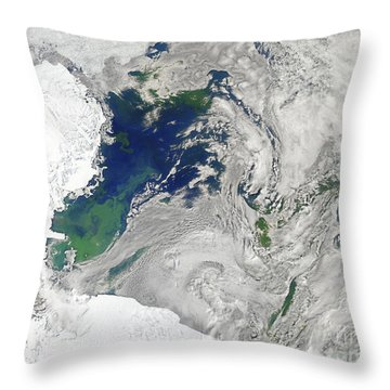 Satellite View Of The Ross Sea Throw Pillow by Stocktrek Images