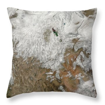 Satellite View Of The Western United Throw Pillow by Stocktrek Images