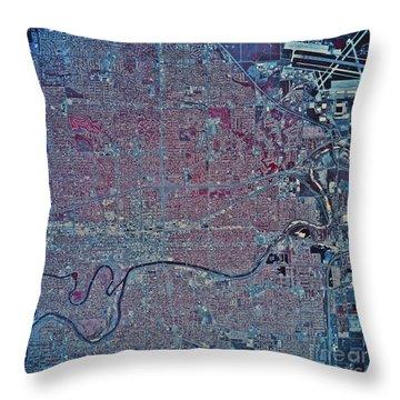 Satellite View Of Wichita, Kansas Throw Pillow by Stocktrek Images