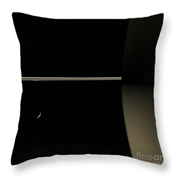 Saturn And Its Moon Tethys Throw Pillow by NASA/Science Source