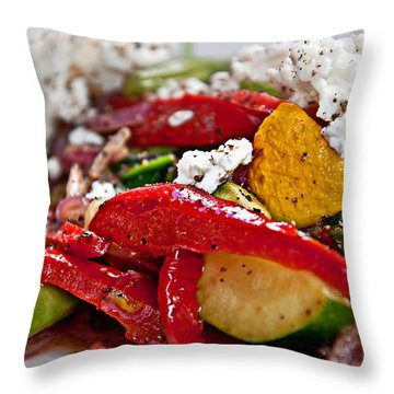 Sauteed Vegetables With Feta Cheese Art Prints Throw Pillow by Valerie Garner