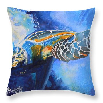 Save The Turtles Throw Pillow by Warren Thompson
