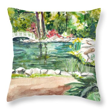 Throw Pillow featuring the painting Sayen Pond by Clara Sue Beym