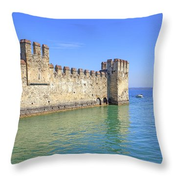 Scaliger Castle Wall Of Sirmione In Lake Garda Throw Pillow