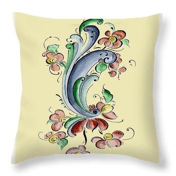 Scandinavian Flower II Throw Pillow by Judy Dodds