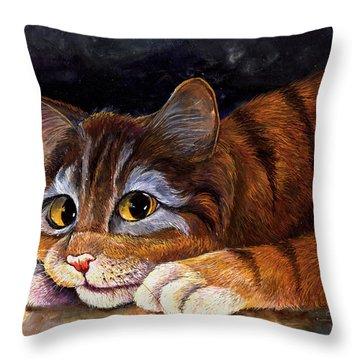 Scaredy Cat Throw Pillow by Sherry Shipley