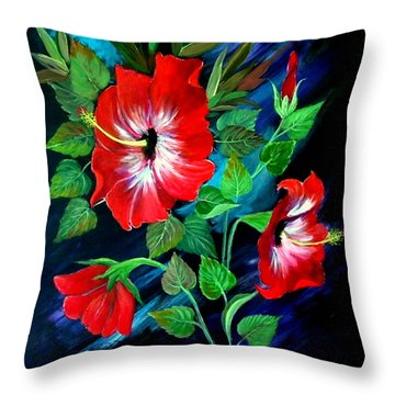 Scarlet Hibiscus Throw Pillow by Fram Cama