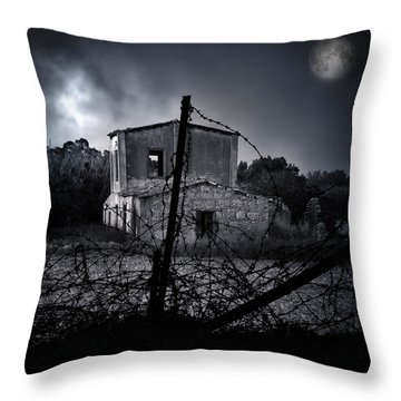 Scary House Throw Pillow by Stelios Kleanthous