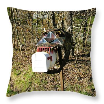 Throw Pillow featuring the photograph Scary Mailbox 3 by Sherman Perry