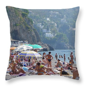 Throw Pillow featuring the photograph Scene At The Beach In Positano by Nora Boghossian