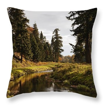 Scenic River, Northumberland, England Throw Pillow by John Short
