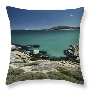 Scenic View Of A Bay At Wilsons Throw Pillow